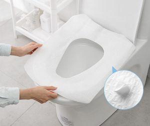 High-Quality 10pcs Disposable Hotel Toilet Cushion Travel Paper Portable Sticking Single-piece Set Toilet Cover Toilet Seat Mat