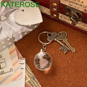 50PCS Verre Cristal Globe Porte-clé dans l'encadré porte-clés cadeau de mariage Favors Birthday Party Keepsakes Giveaways pour les clients LIVRAISON GRATUITE