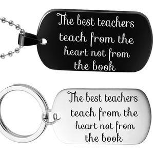 En Iyi Öğretmenleri Yürekten Öğretmek Değil Kitaptan Değil Paslanmaz Çelik Kolye Yazı Etiketi Anahtarlık öğretmenin Hediye Için