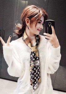Fashion Print Flower Scarf 120x8cm 100% Silk Ribbon Scarves Neckerchief Long Length Neckscarf Hair Riband Bag Handle Handbags