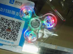 Fidget Spinner LED Cristal de destello Mano Spinner claro Tri-Spinner Fidget juguete para adultos o niños