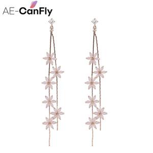 AE-CANFLY Crystal Fashion flor do metal longa cadeia de borla brincos para mulheres Dangle Gota Jóias festa ou casamento G
