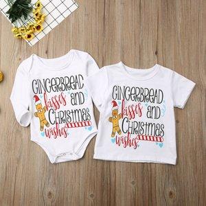 Bebé recém-nascido menina Irmã Irmão Top T-shirt Romper Outfit Natal roupas Letter Printing T Shirt