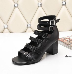 Brand Women cow leather Dress Wedding Shoes sandals,summer Fashion High Heeled Slippers 6.5cm Chunky Heel Office Lady Moccasins Pumps,35-42
