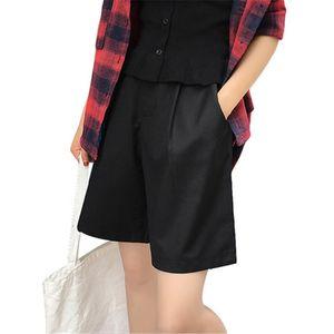 2020 Summer High Waist Shorts Black Women Formal Solid Straight Plus Size 5XL Short Women Fashion Wide Leg Pant New
