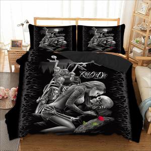 Crânio gótico cama Set gêmeo completa Rainha Rei Duplo Tamanhos capa de edredão com fronhas Rider menina Bed Linens Set