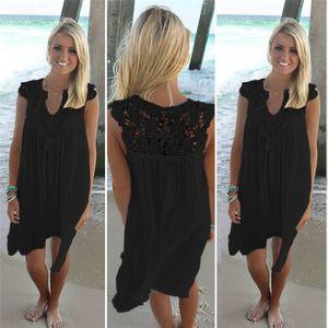 Sommer-Frauen kleiden Sleeveless Frauen schließen CUTE lose Strand-Spitze-Kleid-Qualität Kleider 4 Farben plus Größen-beiläufige XXXL Mini