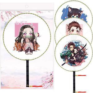 Los aficionados del anime Demon Slayer Kimetsu No Yaiba Figura Kamado Tanjirou clásica redonda fan de la danza Ventilador de mano con el regalo colgante borla
