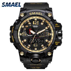 Hommes Montres en or Smael Marque Montre S Shock numérique Montre-bracelet alarme chronométreur 1545 montre Sport Dual Time Clock Hommes Militar