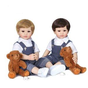 New 60cm Reborn Kleinkind-Jungen-Puppe Silikon-Vinyl Limbs Nette zwei Haarfarbe Baby Doll Cloth Körper Geburtstags-Geschenk-Mädchen-Spiel-Haus Boneca