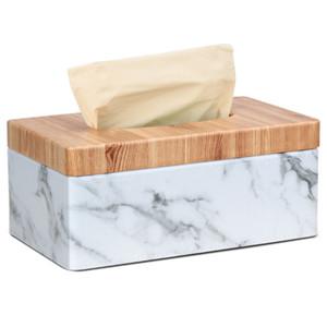 Marbre rectangulaire PU Facial grains Couverture Tissue Box serviette papier Porte-serviettes Distributeur conteneur pour Home Office Decor