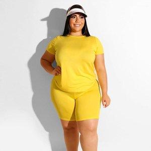 Plus Size Casual cor sólida do pescoço de grupo Camiseta Shorts 2pcs set fêmeas Tracksuits das mulheres roupas de verão