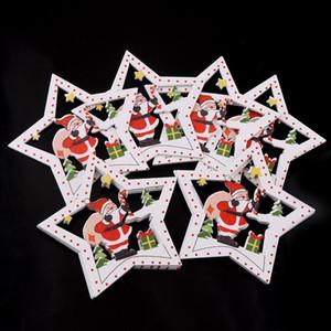 10pcs Arbre de Noël de bricolage en bois suspendu Ornements Pendentif Bells Père Noël Nouvel An Décor Décorations de Noël pour la maison