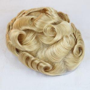 Voll Poly Herren Toupet Alle Haut Toupets Blonde dünne Haut Menschliches Haar Systeme Haarersatz Alle PU-Perücken für Männer 8x10 Zoll