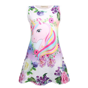 Sommer Schmetterling Mädchen Einhorn Kleid Kinder Cartoon Floral Party Geburtstag Sleeveless Kleider Kinder Baby Prinzessin Kleidung