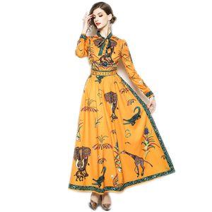 Le donne della moda di New pista elegante del progettista casuali dimagriscono Vestito aderente Vintage Party Print Animal Work Maxi Abiti Vestidos