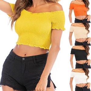 نساء مثير تي شيرت النساء مصمم الصلبة لون الفطر T-shirt أعلى للمرأة الصيف جنسي قصير القطع الرقبة السرة القمصان قصيرة الأكمام