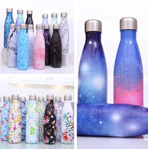 17 oz / 500ml Cola bottiglia d'acqua a forma di doppia parete in acciaio stampare bicchiere inox Vacuum Insulated Viaggi Sport Cup Thermos Coke Mug 5166