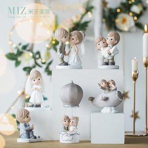 Miz свадебное украшение пара рисунок мультфильм статуя Свадебный декор жених и невеста торт Топпер украшения дома аксессуары T200624