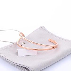 Hot Sale Creative Silver Jewelry EuropeanC-type bracelet Fit DW men and women open line titanium steel rose gold