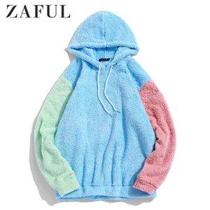 ZAFUL Men's Hoodies Color-blocking Splicing Fuzzy Pullover Hoodie Women Autumn Drawstring Sweatshirts Streetwear Men Color Tops T200602