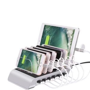 Family Office 5V 12A 60W 6 портов Настольная зарядная станция 2.4A Multi Port Smart USB зарядное устройство Док-станция для смартфонов, планшетов