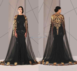 Neue schwarzen arabischen Muslim-Abend-Kleider Tüll Umhang Gold und schwarze Pailletten Rundhalsausschnitt Mermaid Formal Wear Lange Pageant Abendkleid
