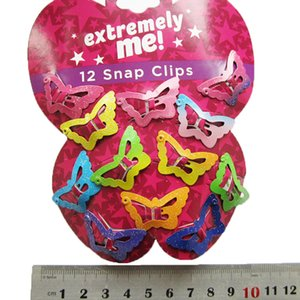 Beautiful Kids Pentagram Hair Clips Glitter BB Clips Buterfly Colors 12PCS Set Children Asymptotic color Candy Color Star Girls