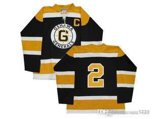 Men Customize CHL Oshawa Generals OHL 2 Bobby Orr Hockey Jersey Black embroidery Hockey Jersey or custom any name or number retro Jersey