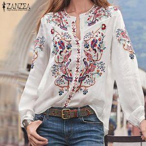 Bohemian Top stampati di autunno delle donne Camicetta ZANZEA 2019 Plus Size camice Tunica collo di modo V manica lunga Casual Female Blusas Y200103