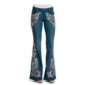 뜨거운 판매 여성 자수 카우보이 바지 슬림 얇은 플레어 바지 캐주얼 여성 데님 바지 2020 여름 패션 청바지 여성 긴 바지
