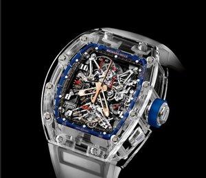 F02 A5리처드밀 자동 기계식 시계 GMT 스테인레스 스틸 블루 레드 세라믹 사파이어 유리 40mm 남성 시계 손목 시계