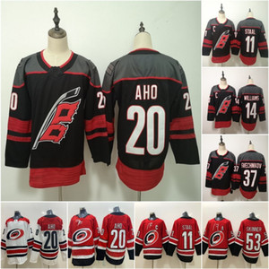 Carolina huracanes Sebastian Aho Staal Andrei Svechnikov Justin Williams 2019 Alternate Tercer 3rd Home Road Hockey Jerseys Double Steins