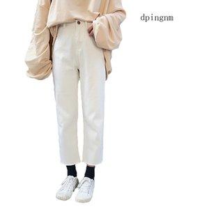 Jeans bianchi donna 2019 nuovo preppy stile casual allentato vita alta alla caviglia jeans gamba larga pantaloni boyfriend vestido c1319 Y19042901