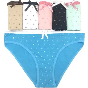 Free shipping 5pcs lot Hot Selling Cotton women's briefs Fashion bow cotton panties sexy women's underwear briefs 89040