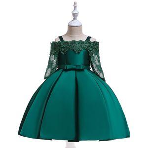 2019 Flower tutu Kids Clothing Satin Elegent Lace cutout half sleeve Girls Dresses for Children Princess Party Custumes 2-10 Years