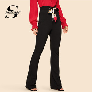 Sheinside Vintage Black Flare Pants Femmes 2019 printemps mi taille Zip Pantalons longs Mesdames Workwear Workwear élégant solides