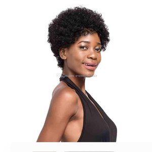 Top quality Afro Kinky Curly Hair Short Human Hair Capless Wigs natural Color Virgin Hair Bob Short Wigs For Black Women