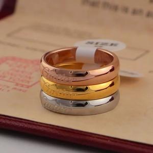 grande versão da forma de prego clássicohomens de aço anel de titânio Cartier e mulheres no anel rosa 18k anel de ouro nenhuma caixa A10