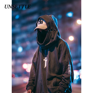 Desestabilizar Moletons alta pescoço boca Peixe velo Pullover japoneses Men Hoodies oversize Streetwear Hip Hop Harajuku Masculino TopsMX191011