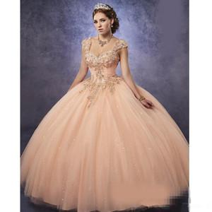 Espumantes blush rosa Tule Vestidos Quinceanera 2020 destacável Straps Basco frisada Pedrinhas Top Prom doce 16 Vestido Lace Up Voltar