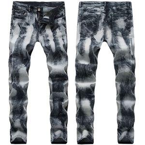 21 Stiller Erkek Jeans Motosiklet Pantolon katlayın Düz Slim Fit Avrupa ve Amerika Delik Moda Pantolon Kalem Pantolon Sokak Yıkanmış Ripped