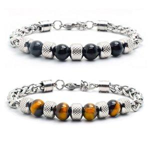 Tiger eye bracelet men natural stone bracelet bangles black beads chain on hand stainless steel charm jewelry Steampunk
