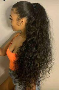 Corn Curly onda Wrap Around clip Coda di cavallo estensioni capelli umani reali in / su pony code estensioni dei capelli per le donne 20inch 2 # Scuro