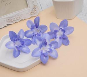 Cabeza artificial de la orquídea de la flor 8cm para el arte de la broche de Navidad de la pinza de pelo de la boda GB578