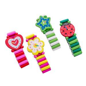Children Fashion Watches Cartoon Boys Girls Wooden Watch Cute Student Handwear Clock Stationery Presents Crafts Toys