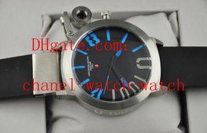 Heißer verkauf classico 55 u-1001 edelstahl blau schwarz zifferblatt schwarz gummi herren automatische sportuhren herren armbanduhren transparent zurück
