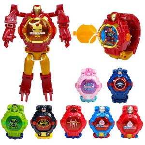 2019 spuer Hot Sell deformado relógio eletrônico brinquedo Marvel robô infantil Homem de Ferro Capitão América dos desenhos animados olham robô virou as crianças brinquedos