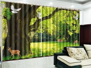 Custom 3D Curtain Flying Bird Spirit Deer Hermoso Bosque Paisaje 3D Paisaje Cortina Blackout Aislamiento Práctico Cortina