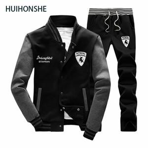 Camisola Homens Treino Set Sweat New 2018 Marca SpringAutumn 2PCS gola velo retalhos Mens Casual Suits Hoodie Homens
